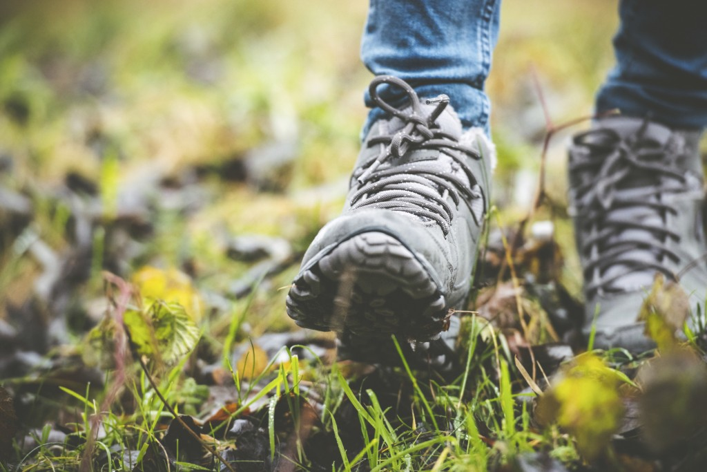 feet in shoes on a forest path