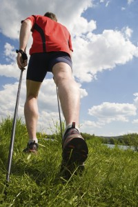 Nordic walking in summer nature.